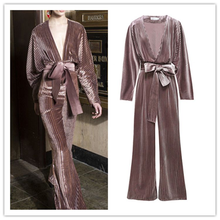 244273ad09b 2019 Runway Velvet Pleated V-neck Cocktail Party High Waist New Wholesale  Romper  fashion