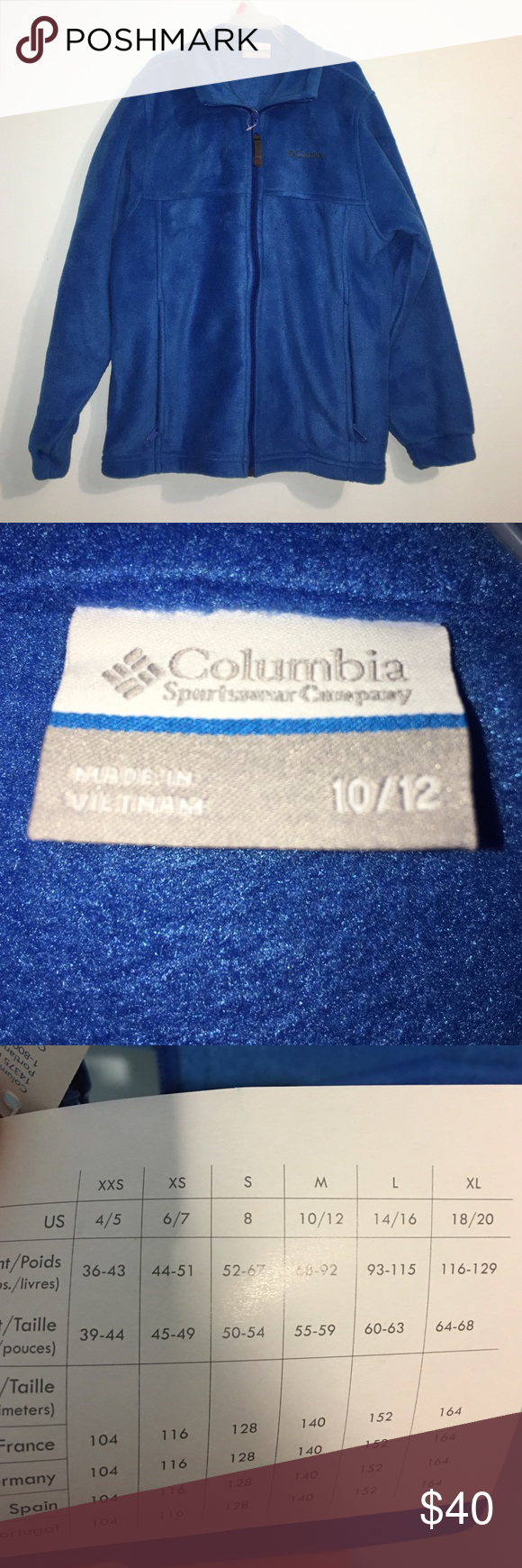 Columbia fleece zipup super soft very cozy and warm doesnut fit me