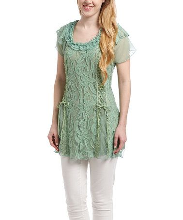 Another great find on #zulily! Light Green Lace Linen-Blend Cap-Sleeve Tunic - Women #zulilyfinds