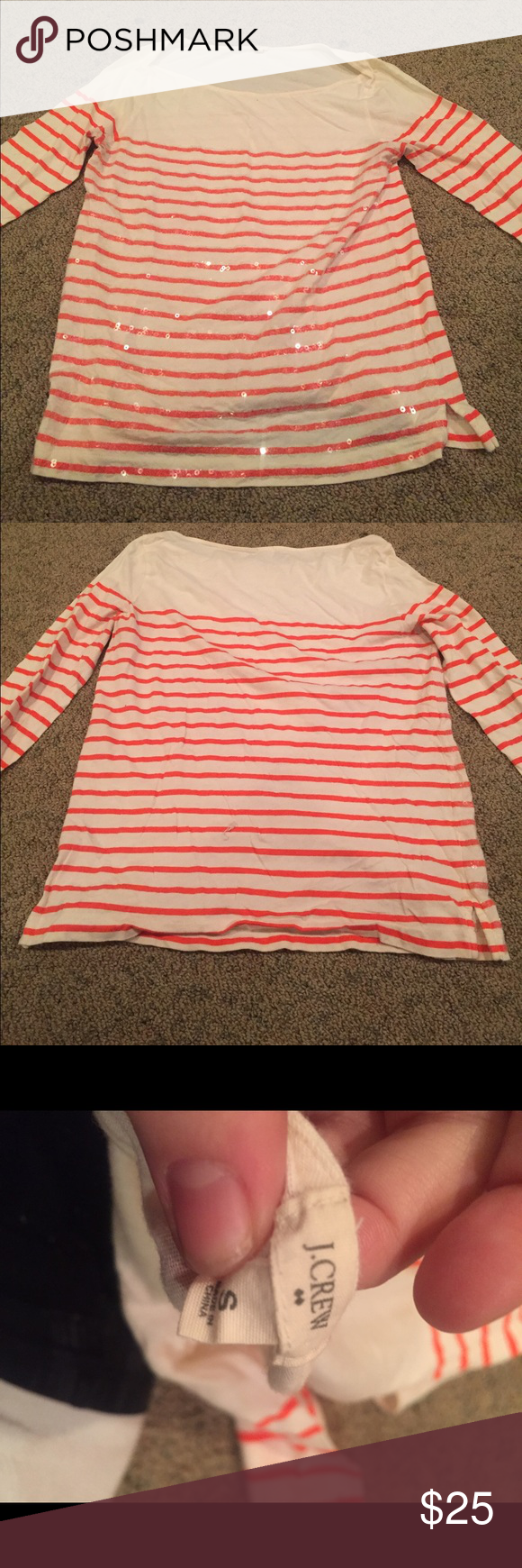 Top Cram and orange striped top J. Crew Tops Tees - Long Sleeve