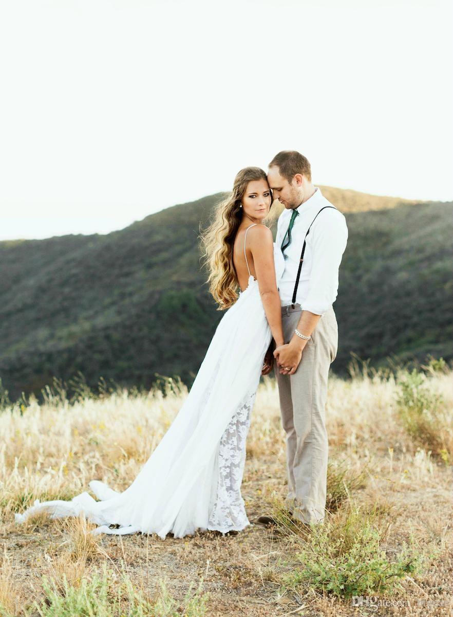Chiffon Lace Boho Beach Wedding Dress with Split