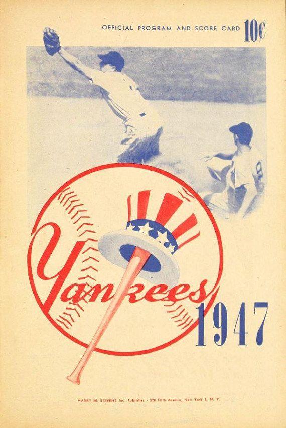 1947 NEW YORK YANKEES - Vintage Baseball Poster   Baseball posters ...