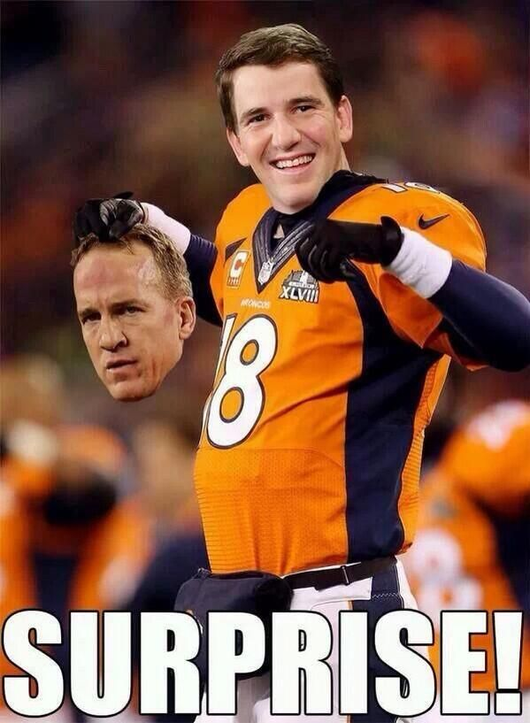 The Best Memes Reactions From Super Bowl Xlviii Peyton Manning Broncos Nfl Funny