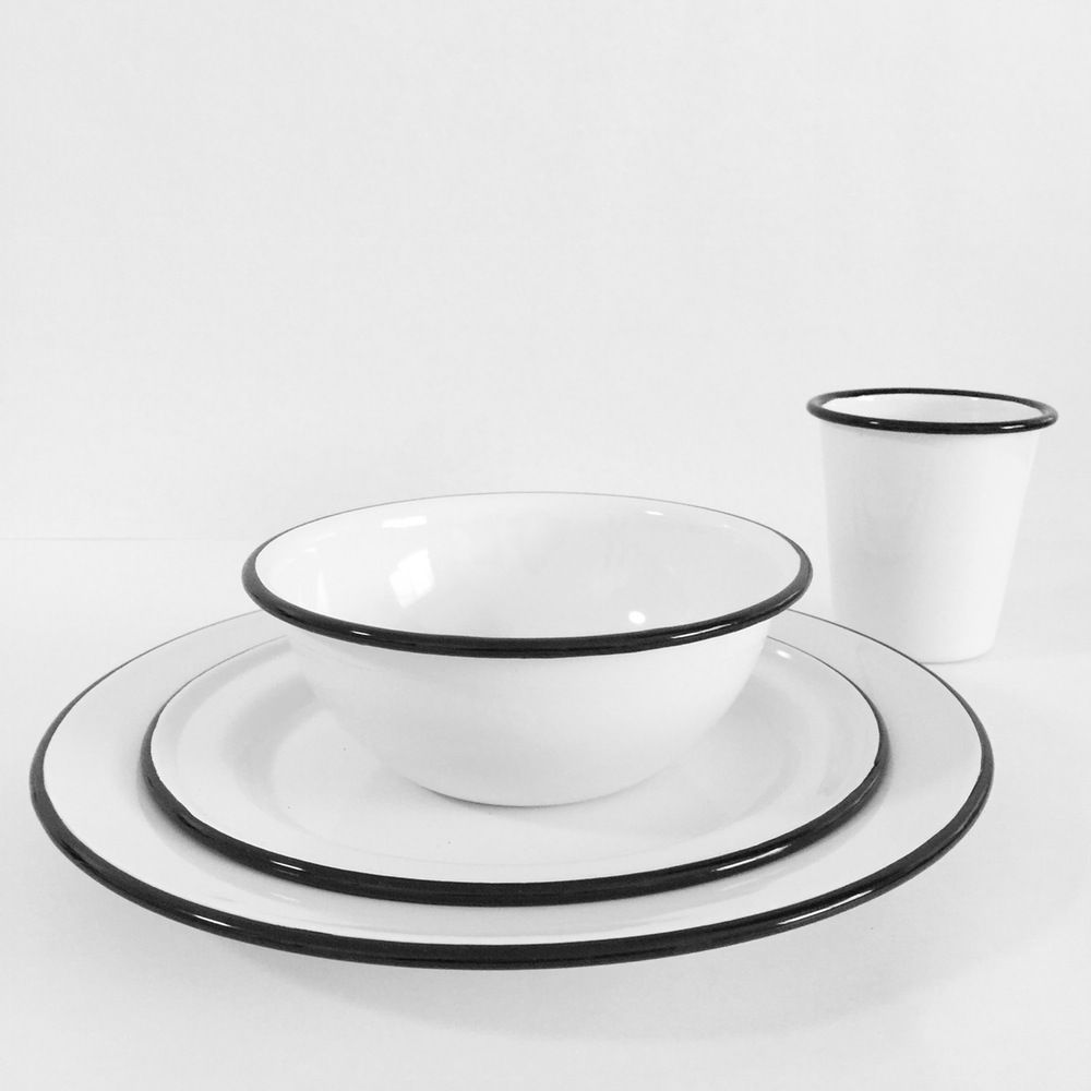 Image of Crow Canyon Home - Enamelware dinner plate (white with black rim)