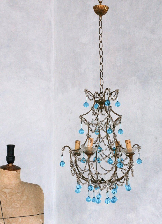 Vintage 1930s shabby blue macaroni beaded crystal chandelier vintage 1930s shabby blue macaroni beaded crystal chandelier aloadofball Gallery