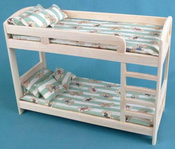 "Bunk Bed wooden DOLLHOUSE Furniture miniature self-production kit 1:6 scale 12"" dolls MH blythe Barbie YOSD role-playing games Girls Gift"
