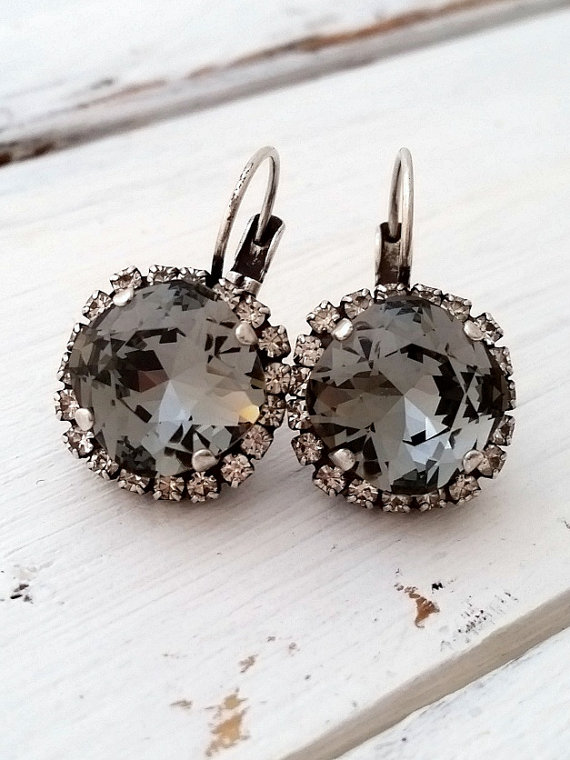 Smokey Grey Black Diamond And Clear Swarovski Crystal Drop Earrings Bridesmaid Gifts Oxidized Silver Chic