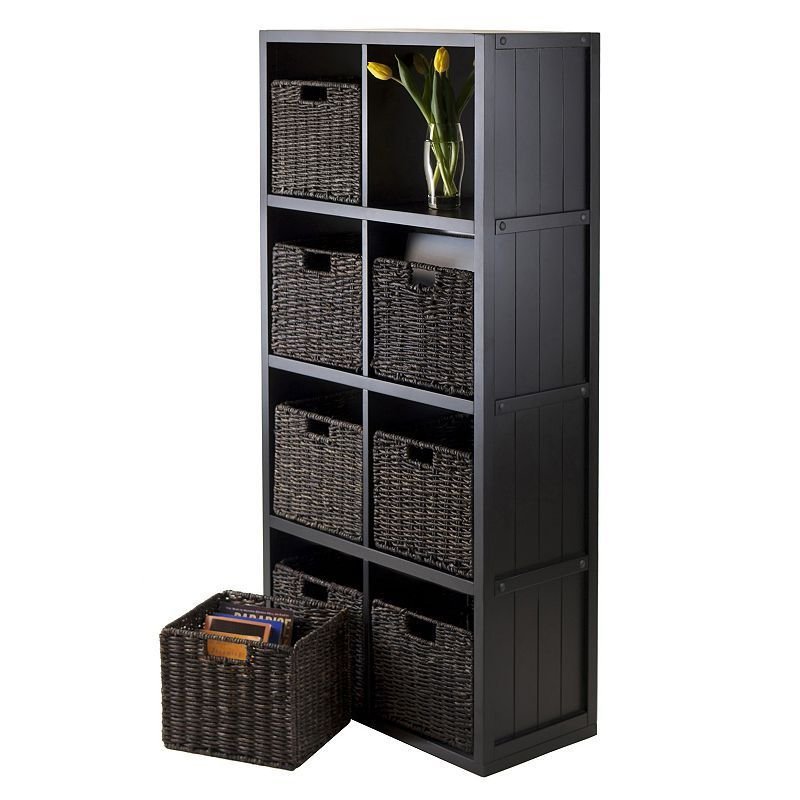 Winsome Timothy 9 Piece 8 Cube Storage Shelf And Basket Set Black