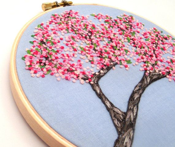 Cherry Blossoms Hand Embroidery Tutorial Pattern Pdf Digital Pink