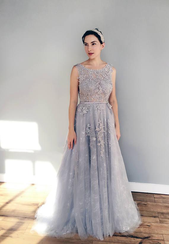 vestido de novia de encaje azul gris | quinceañera en 2019
