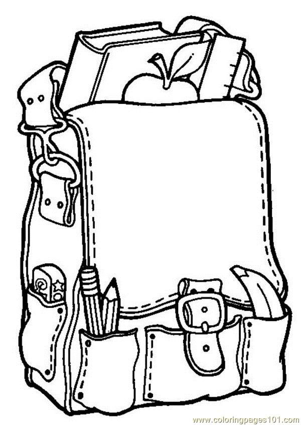 School bag coloring page Free