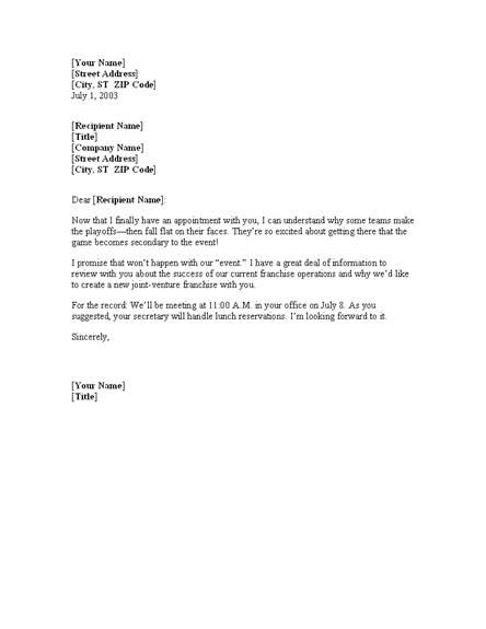 Free meeting confirmation letter template | Office Templates ...