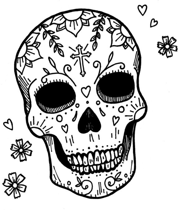 Sugar Skull Coloring Pages to Print Free   Skull Coloring Page to ...