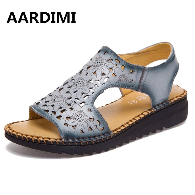2b67078b193 Genuine leather women sandals cut-outs women flats sandals summer 3 colors  cow leather mother