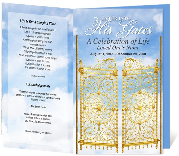 Funeral Programs Heavenly Gates Single Fold Funeral Bulletin