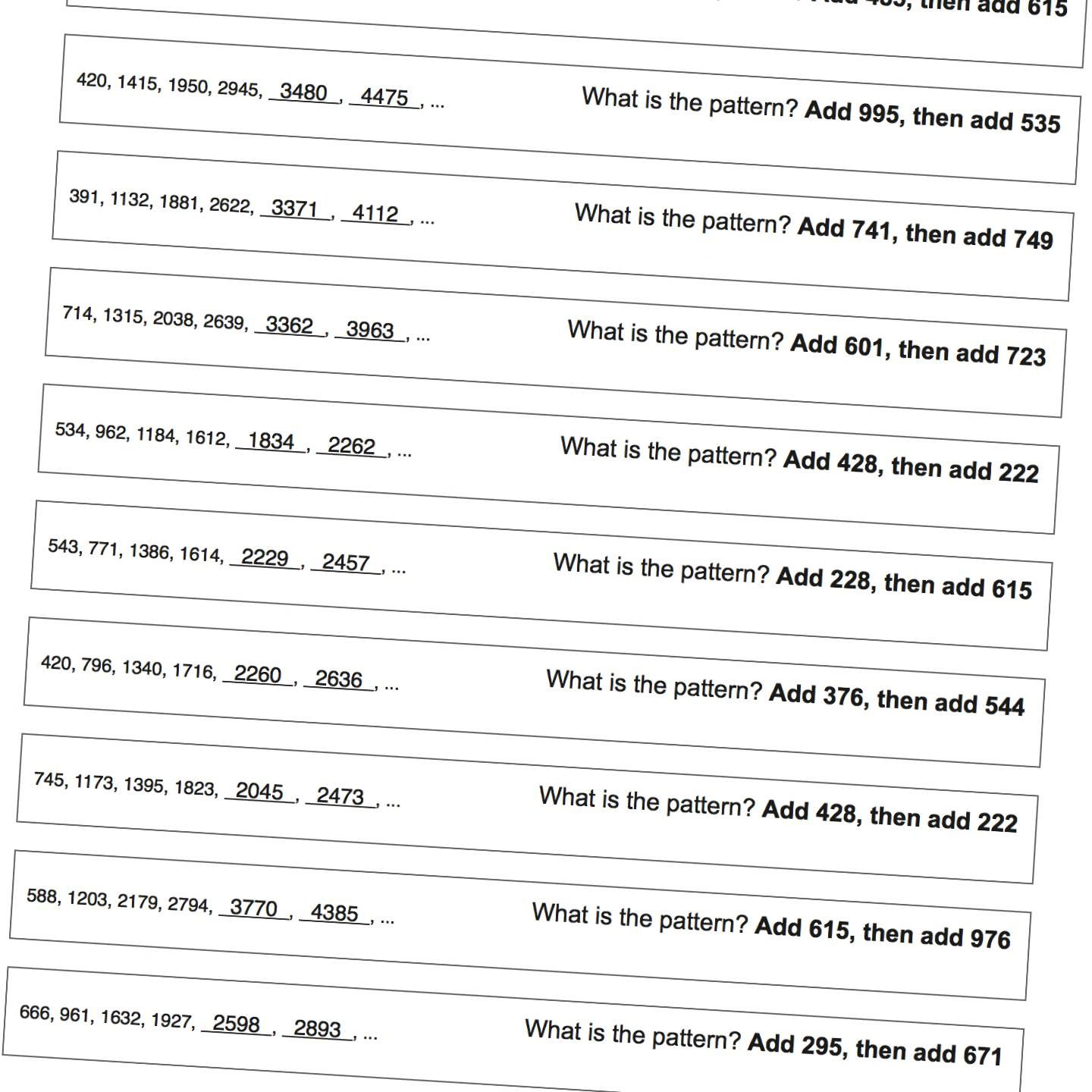 Math Worksheets: Patterns with Large Numbers   Pattern worksheet [ 1440 x 1440 Pixel ]