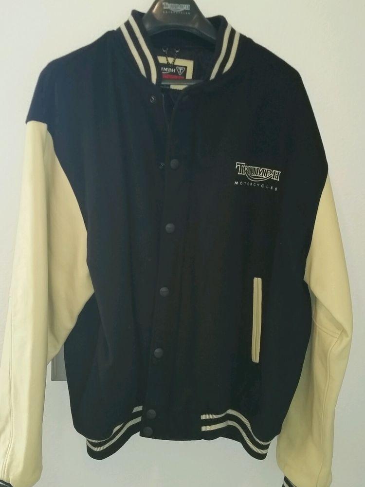 Triumph motorcycle jacket varsity style leather wool xxl 2XL, Big & Tall  black