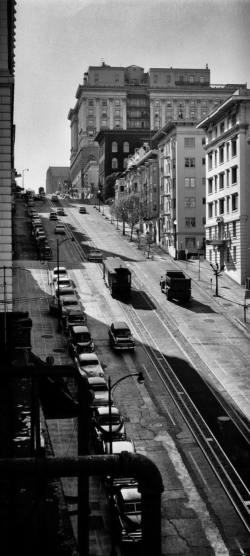 Wonderful shot of a steep San Francisco hill // B&W // Fred Lyon