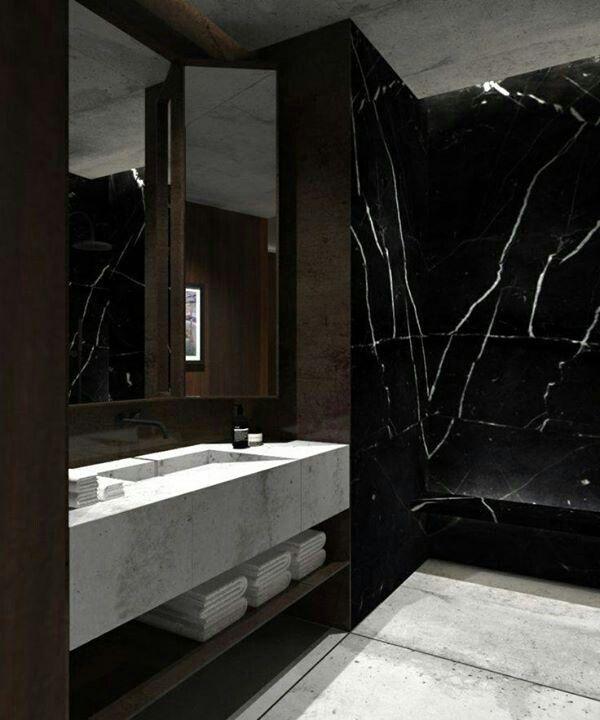 Dramatic bath inspirations black marble bathroom for Marmortisch modern