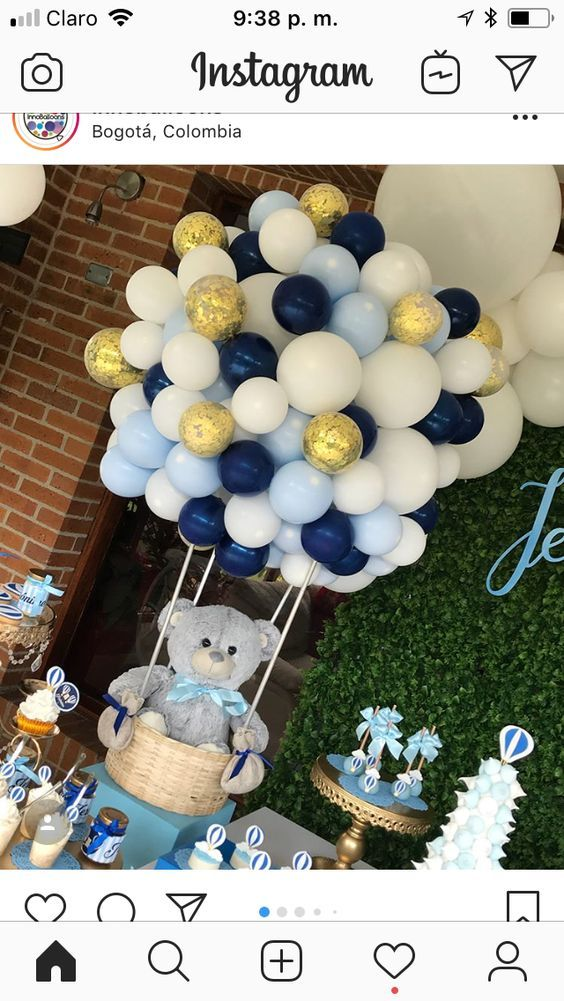 Bear In A Basket Girl Baby Shower Centerpieces Baby Shower Balloons