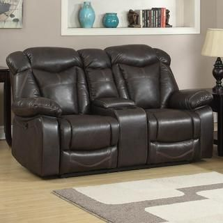Otto Brown Leather Air Glider Reclining Loveseat