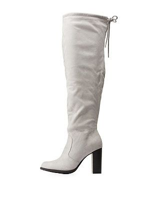 efc5e896846 High Heel Drawstring Over-the-Knee Boots  Charlotte Russe