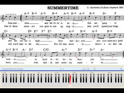 Summertime Piano Jazz 80 Bpm With Chords And Melody Sheet