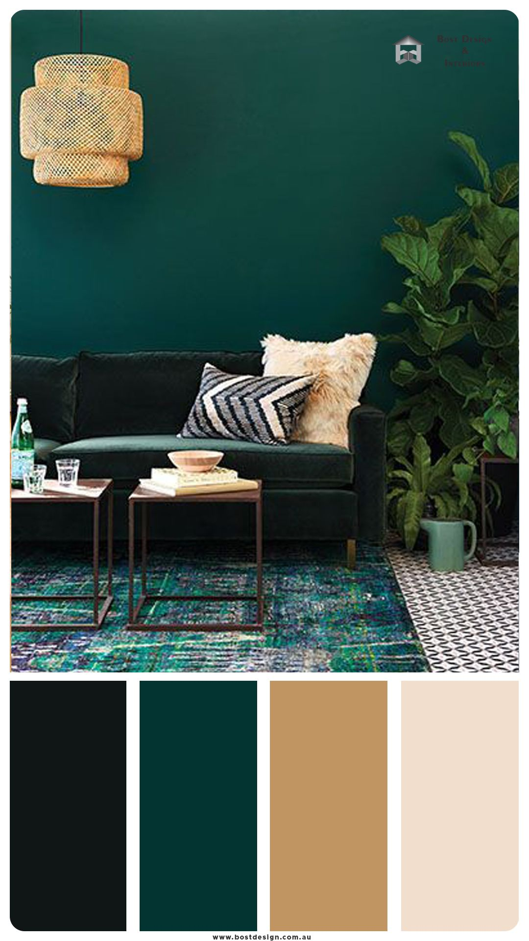 dark green color palette with muted gold   Green living room decor ...