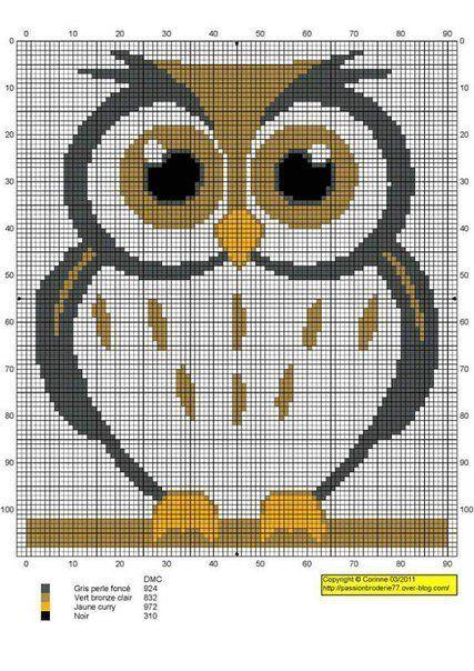 Маленькая вышивка крестом сова схема