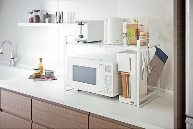When the situation calls for some extra shelf space.  Yamazaki Tower Expandable Kitchen Counter Organizer  #YamazakiHome #YamazakiTower #Countertop #Kitchen #Shelving #Organization #InteriorDesign #HomeDecor #JapaneseDesign #Modern #Minimalist