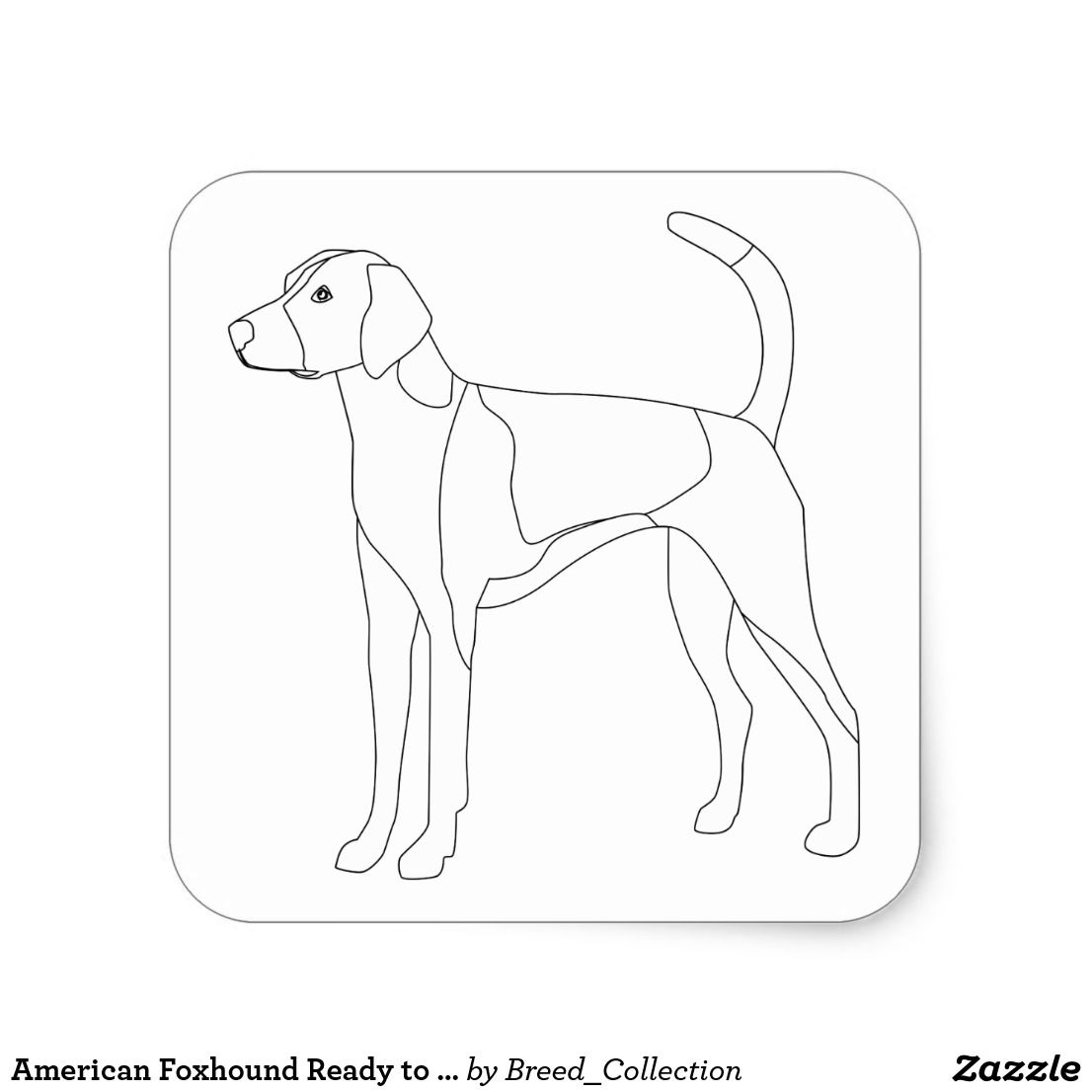 American Foxhound Ready To Color And Customize Square Sticker Zazzle Com The Fox And The Hound American Foxhound Animal Drawings