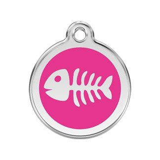 K9 Palace Red Dingo Stainless Steel with Enamel Pet I.D Fish Skeleton Tag