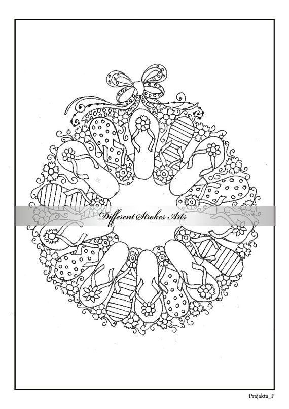 adult christmas coloring page download, flip flop wreath
