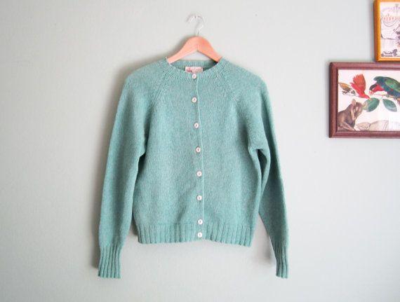 vintage cardigan/ seafoam green 60s cardigan/ mint green wool ...