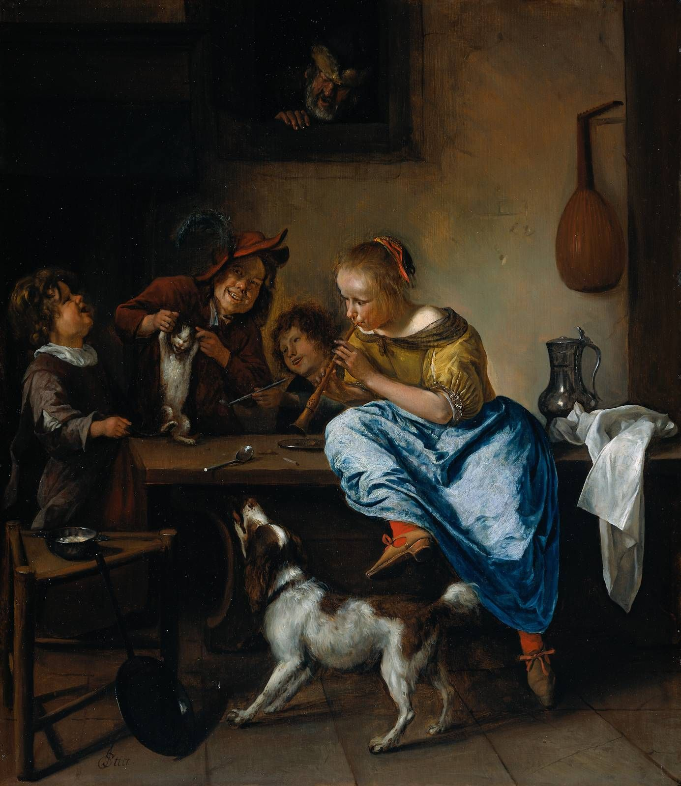 """Jan Steen, Children Teaching a Cat to Dance, also known as """"The Dancing Lesson,"""" c. 1665-1668, oil on panel, 68 cm x 59 cm, held by Rijkmuseum, Amsterdam."""