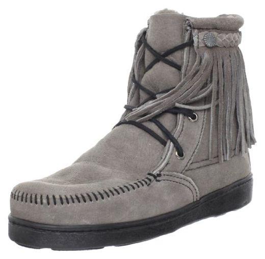 Minnetonka Sheepskin Tramper Boot, Damen Kurzschaft Mokassin Boots, Grau ( Grey), 40 EU (9 US) - Stiefel für frauen ( Partner-Link) b443512fd4