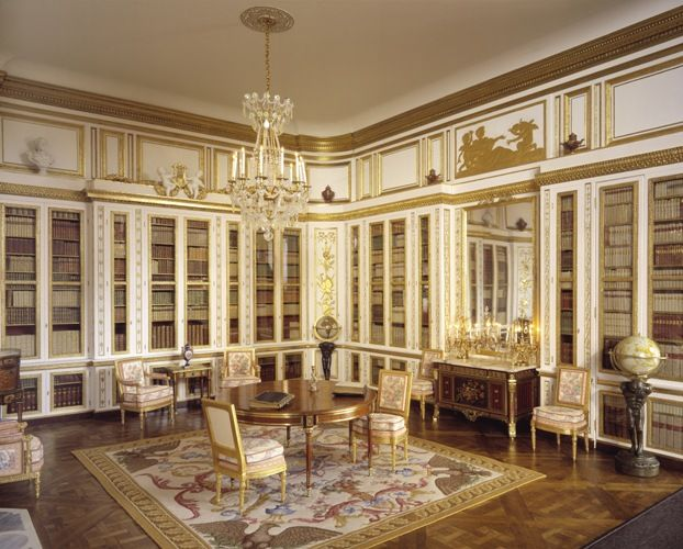 The Ede and Ravenscroft Collection, Louis XVI Library, Versailles by Mulvany and Rogers. The miniature King's Desk is an exact copy of the original designed by Jean-Henri Riesener in 1769