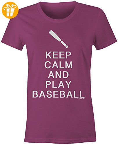 KEEP CALM and play Baseball ☆ Rundhals-T-Shirt Frauen-Damen ☆ hochwertig