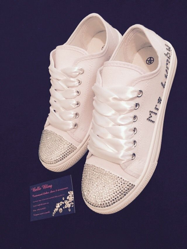 55024739fc4b Wedding Bridal Pumps Trainers Customised Bling Crystal Personalised 3 4 5 6  7 8 in Clothes