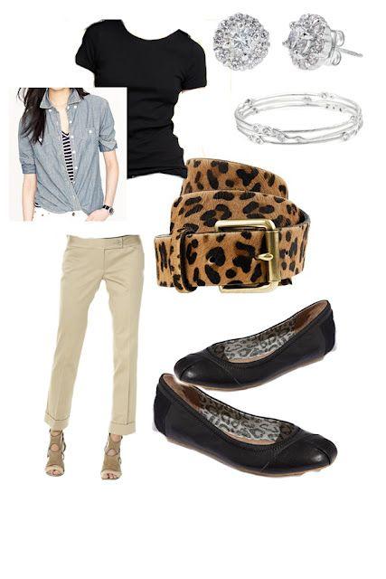 black tee, chambray shirt, khakis, animal print belt and black flats