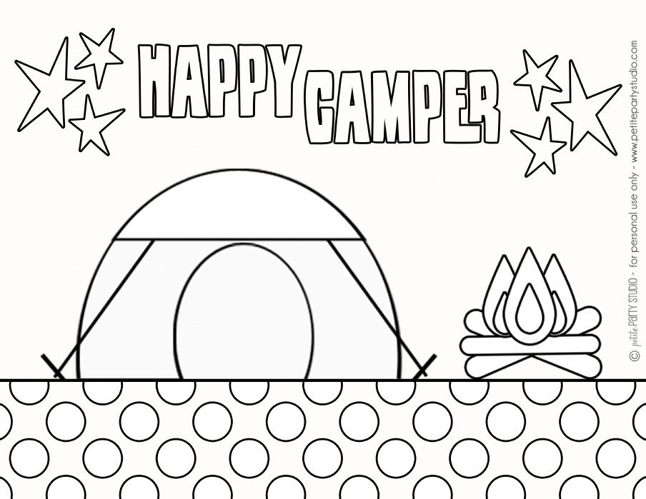 free printable camping coloring page by petite party studio - Camping Coloring Pages