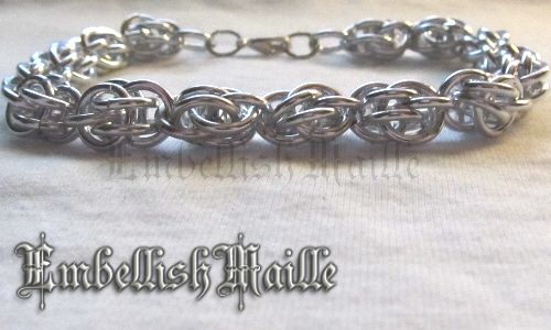 Inverted Spiral Chainmaille Bracelet Black and Silver Anodised Aluminium