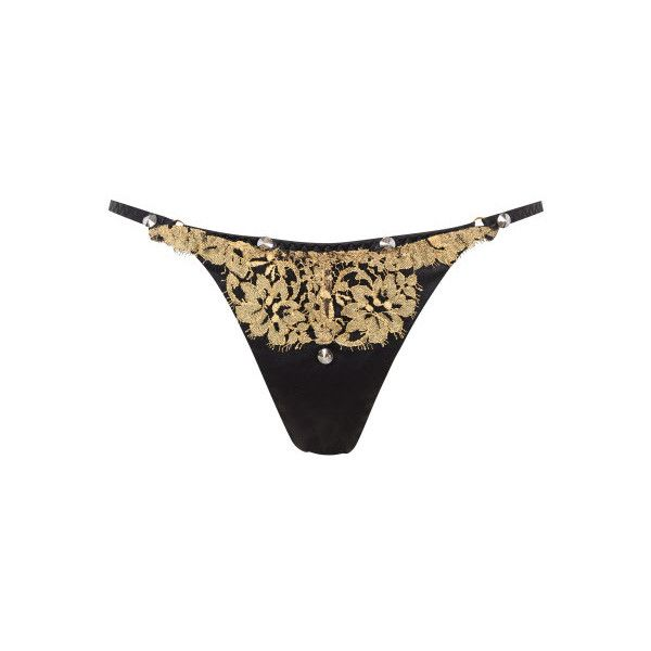 5e6bad10fb7 Agent Provocateur Liu-Liu Thong Black Gold -2 ( 505) ❤ liked on Polyvore  featuring intimates