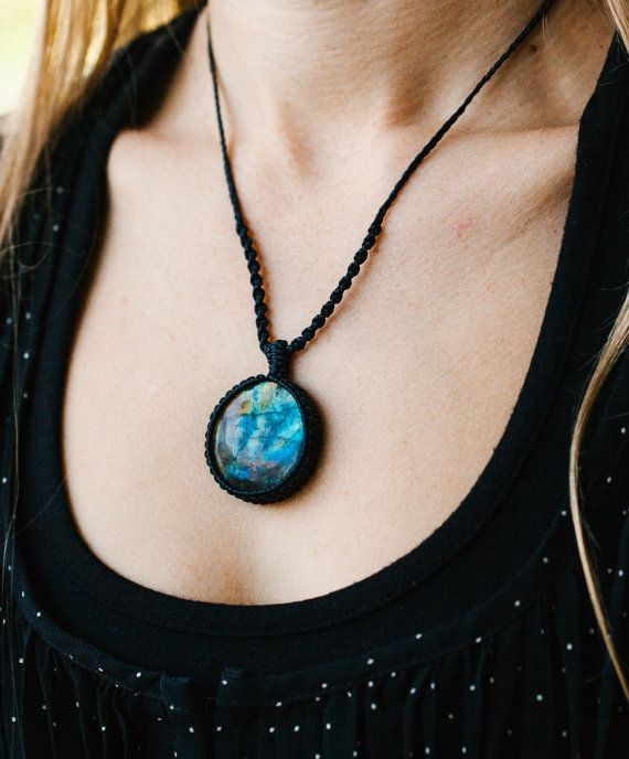 Labradorite Macrame /& moonstone choker macrame jewellery