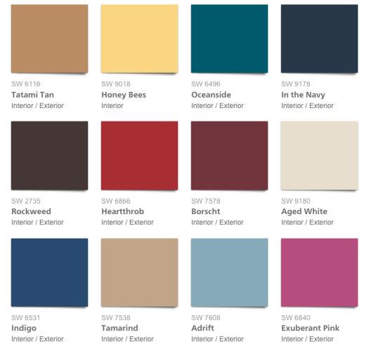 Color forecast 2018 affinity from sherwin williams for Colores de moda para exteriores
