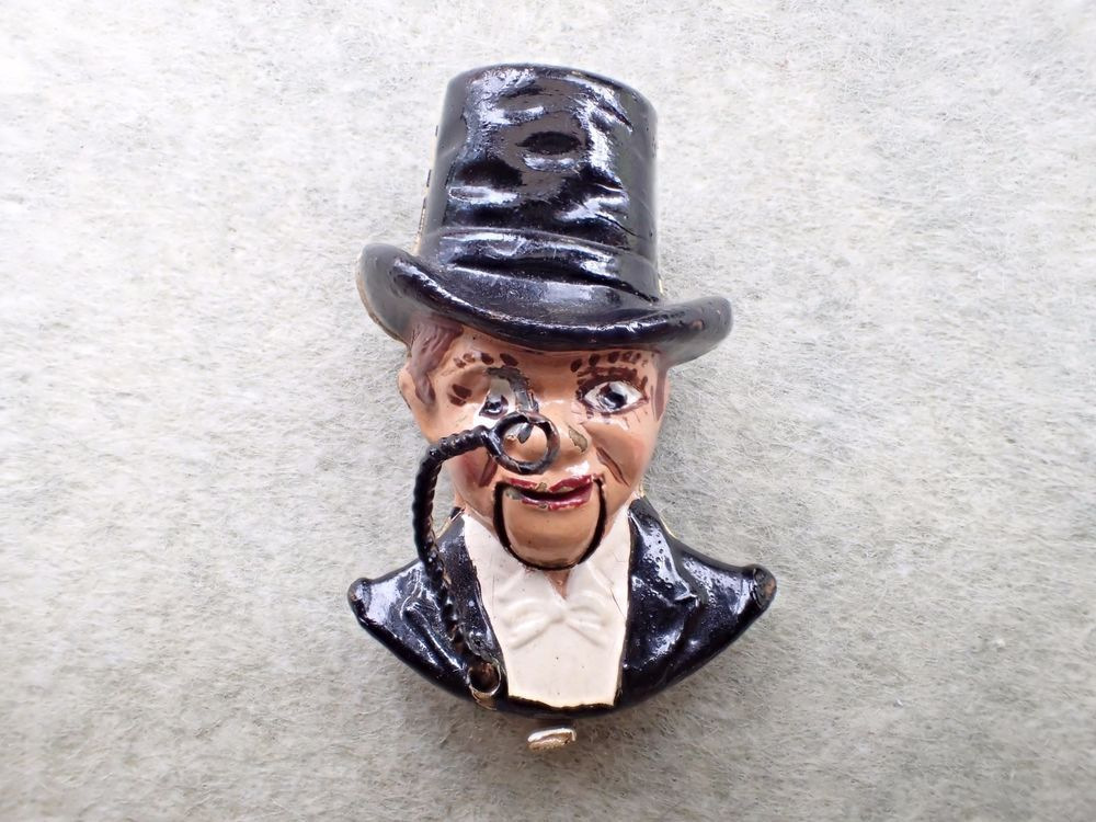 Coro Fur Clip Brooch 1937 Charlie McCarthy Mechanical Figural Book Piece AB525 #Coro