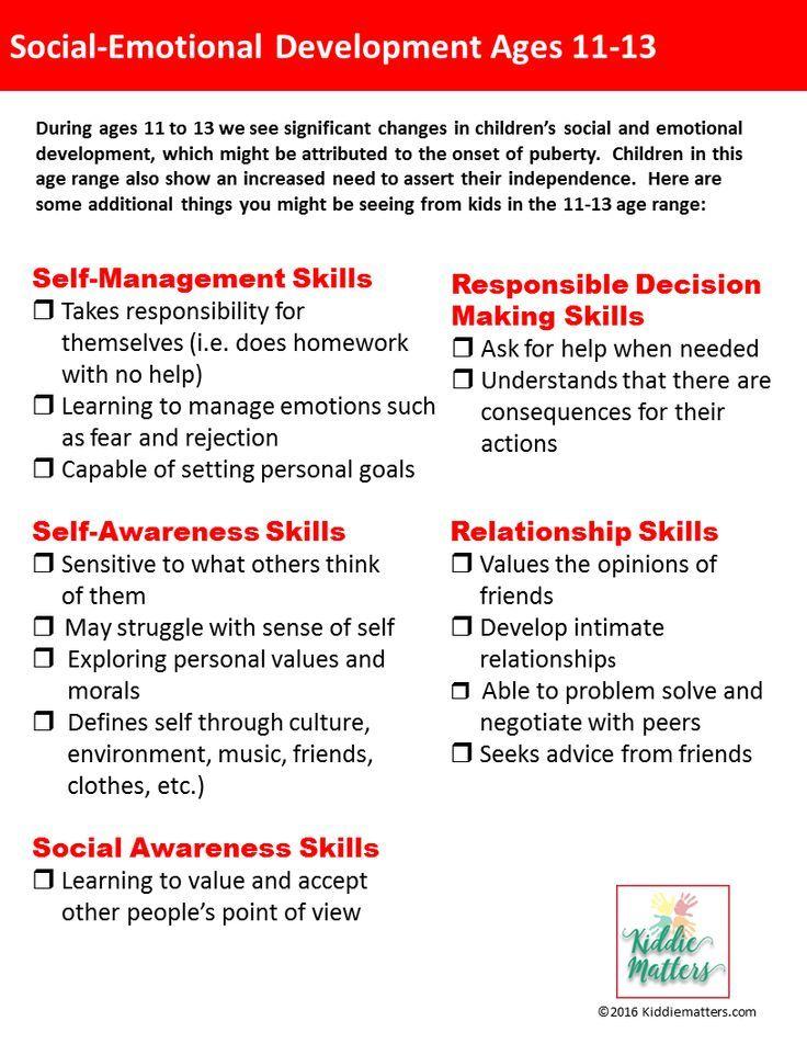 Social Emotional Developmental Checklists For Kids And Teens Kiddie Matters Social Emotional Social Emotional Learning Middle School Emotional Development