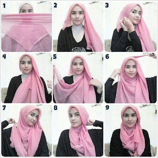 Hijab wrapping tutorial by Zahratul Jannah on Instagram..