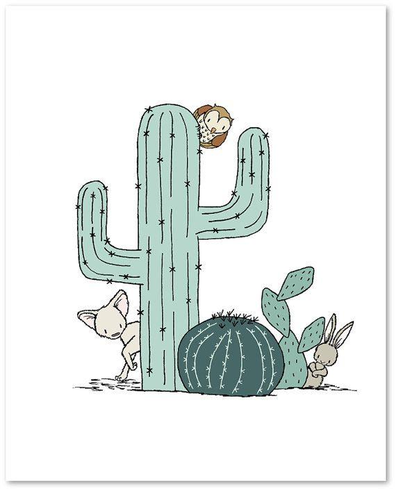 Arte cuarto suroesteFox Cactus tipi vivero por SweetMelodyDesigns ...