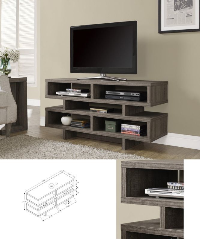 Wood Tv Console Modern Look Furniture Media Storage Entertainment